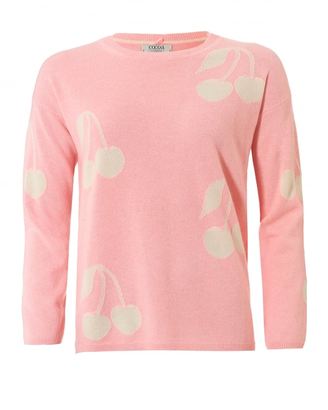 Cocoa Cashmere Womens Cherie Jumper, Cherries Peach Cream Sweater