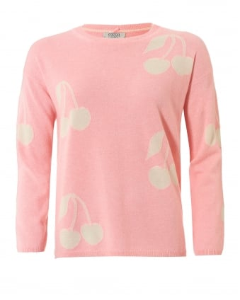 Womens Cherie Jumper, Cherries Peach Cream Sweater