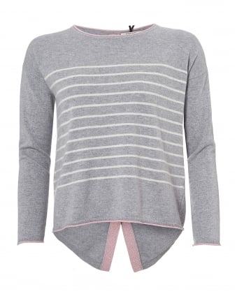 Womens Claire Grey Jumper, Nude Stripe Star Sweater