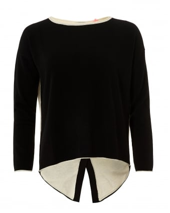 Womens Claire Jumper, Button Back Black Cream Sweater