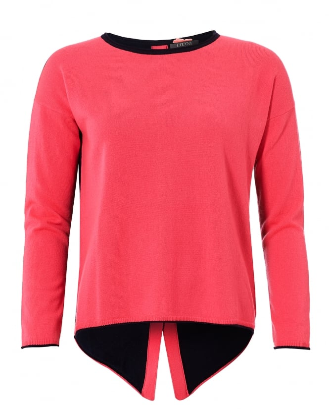 Cocoa Cashmere Womens Claire Jumper, Button Back Navy Pink Sweater