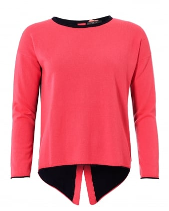 Womens Claire Jumper, Button Back Navy Pink Sweater