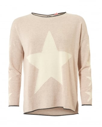 Womens Estella Jumper, Stars Oatmeal Sweater