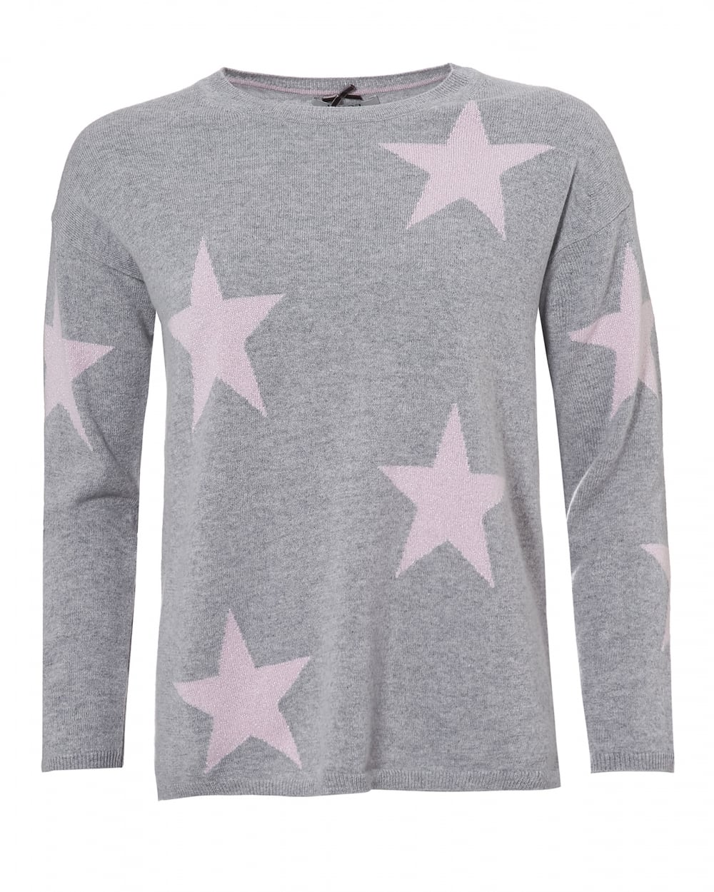 Womens Grey Sophie Jumper, Pink Star Print Sweater