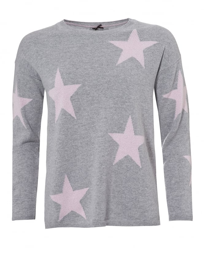 Cocoa Cashmere Womens Grey Sophie Jumper, Pink Star Print Sweater