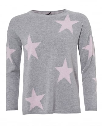 Womens Grey Sophie Jumper, Pink Star Print Sweater