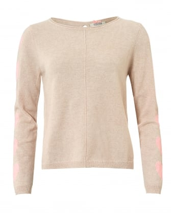 Womens Helena Jumper, Heart Sleeve Oatmeal Peach Sweater