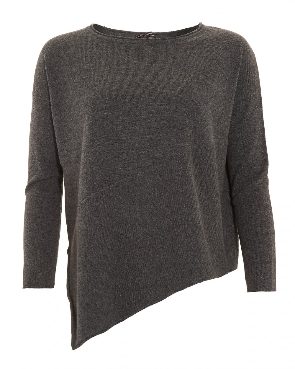 Cocoa Cashmere Womens Jumper, Asymmetrical Cut Charcoal Grey Sweater