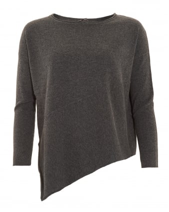Womens Jumper, Asymmetrical Cut Charcoal Grey Sweater