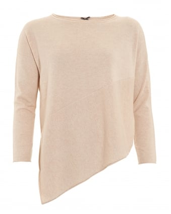 Womens Jumper, Asymmetrical Cut Oatmeal Sweater