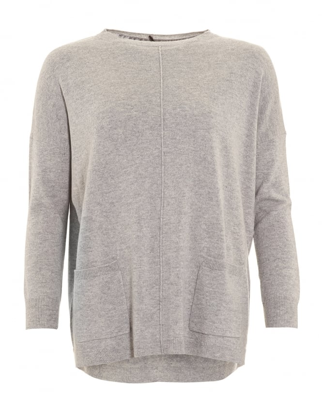 Cocoa Cashmere Womens Jumper, Boxy Two Pocket Grey Sweater