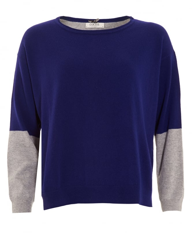 Cocoa Cashmere Womens Jumper, Colour Block French Navy Blue Grey Sweater