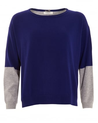Womens Jumper, Colour Block French Navy Blue Grey Sweater