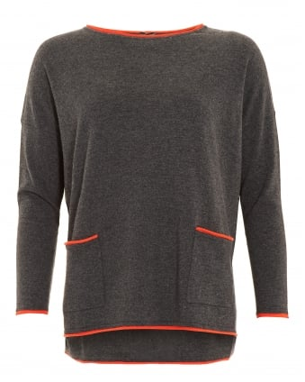 Womens Jumper, Contrast Ends Pocket Ash Blaze Sweater