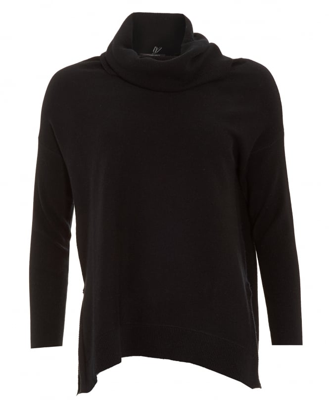 Cocoa Cashmere Womens Jumper, Cowl Neck Cape Black Sweater