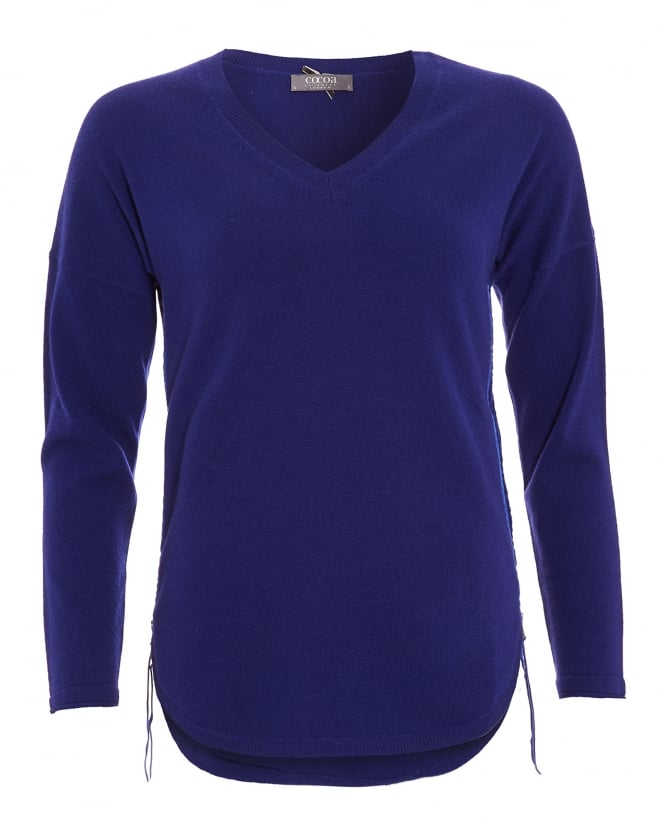 Cocoa Cashmere Womens Jumper, Curved Hem Side Zip French Navy Sweater