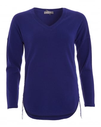 Womens Jumper, Curved Hem Side Zip French Navy Sweater