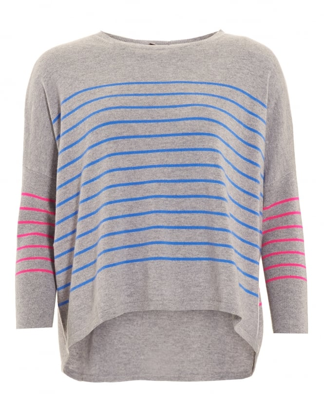 Cocoa Cashmere Womens Jumper, Curved Hem Striped Grey Sweater