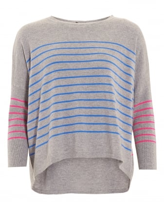 Womens Jumper, Curved Hem Striped Grey Sweater