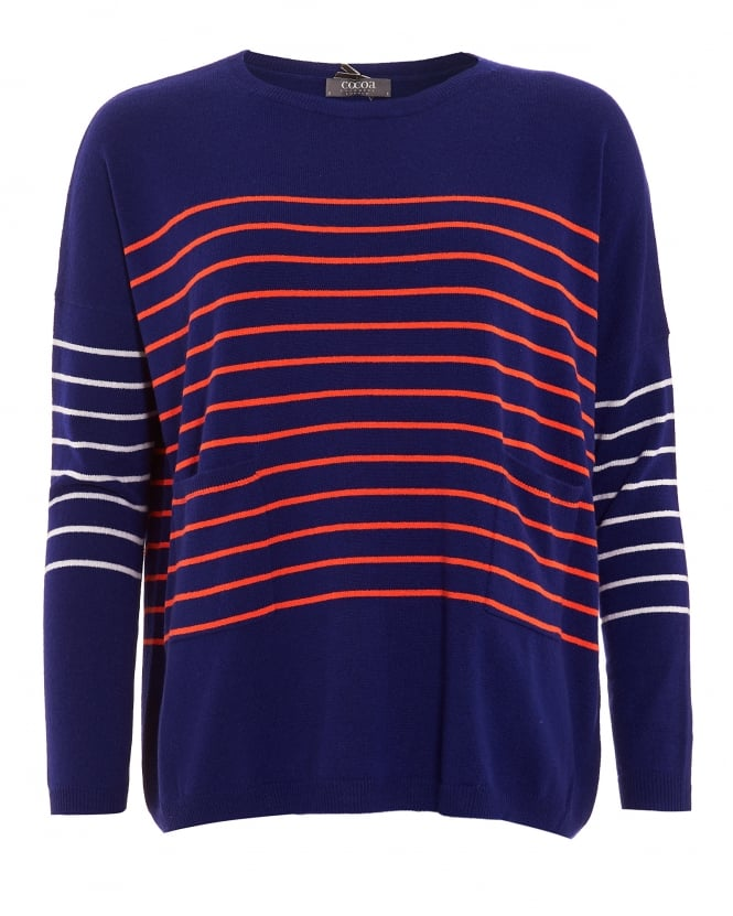 Cocoa Cashmere Womens Jumper, Curved Hemline Striped Navy Blue Sweater