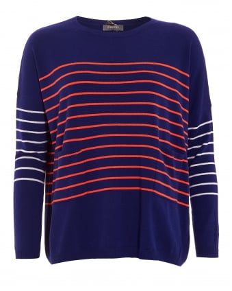 Womens Jumper, Curved Hemline Striped Navy Blue Sweater