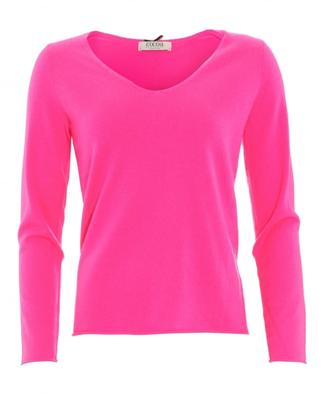 Cocoa Cashmere Womens Jumper, Hotfix V-Neck Star Detail Day Glow Pink Sweater
