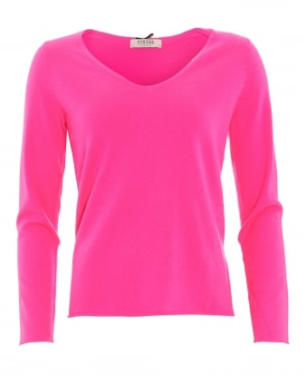 Womens Jumper, Hotfix V-Neck Star Detail Day Glow Pink Sweater