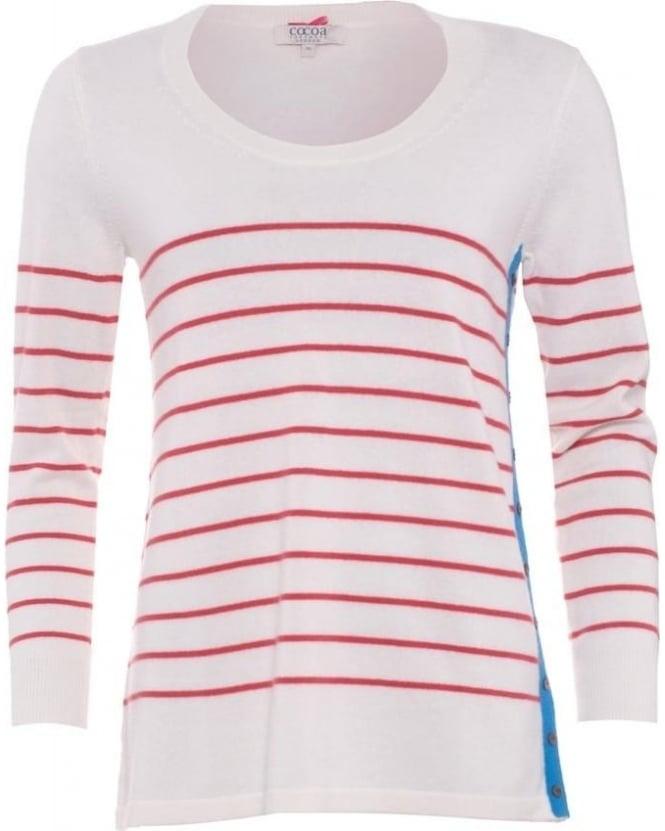 Cocoa Cashmere Womens Jumper, Red Chalk White Striped