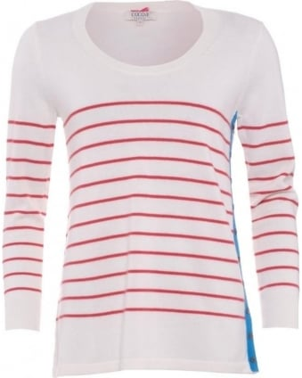 Womens Jumper, Red Chalk White Striped