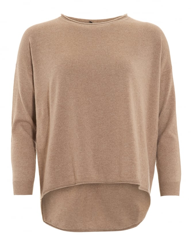 Cocoa Cashmere Womens Jumper, Scoop Star Detail Mink Beige Sweater