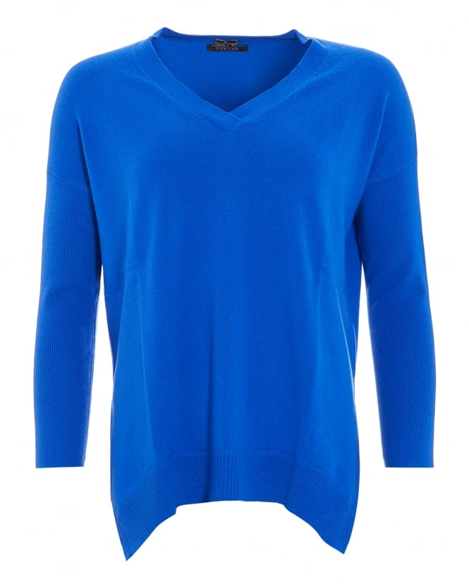 Cocoa Cashmere Womens Jumper, The V-Neck Electric Blue Sweater