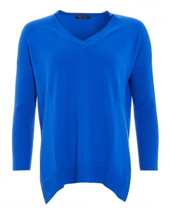 Womens Jumper, The V-Neck Electric Blue Sweater