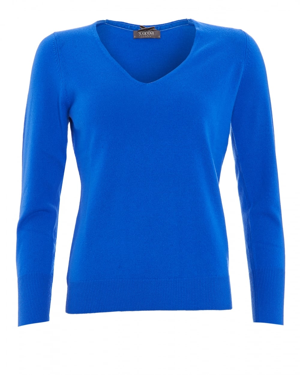 Cocoa Cashmere Womens Jumper, V-Neck Button Cuff Electric Blue Sweater