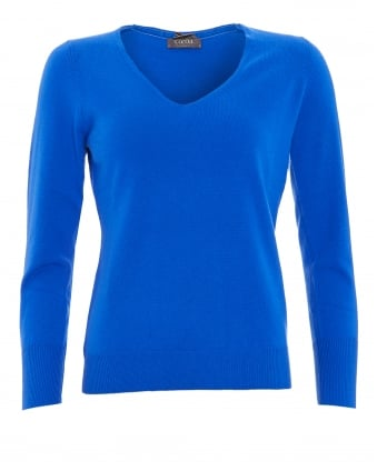 Womens Jumper, V-Neck Button Cuff Electric Blue Sweater