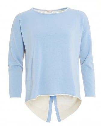 Womens Kelly Jumper, Button Contrast Baby Blue Chalk Knit