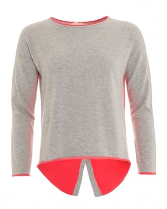 Womens Kelly Jumper, Button Contrast Grey Floro Pink Knit