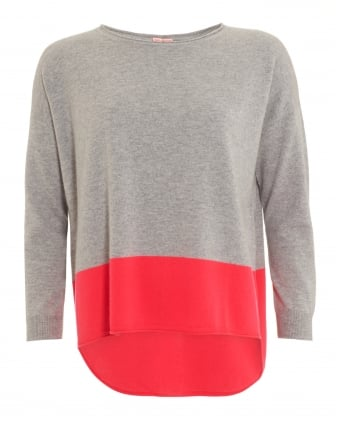 Womens Pink Star Jumper, Contrast Hem Grey Floro Pink Knit