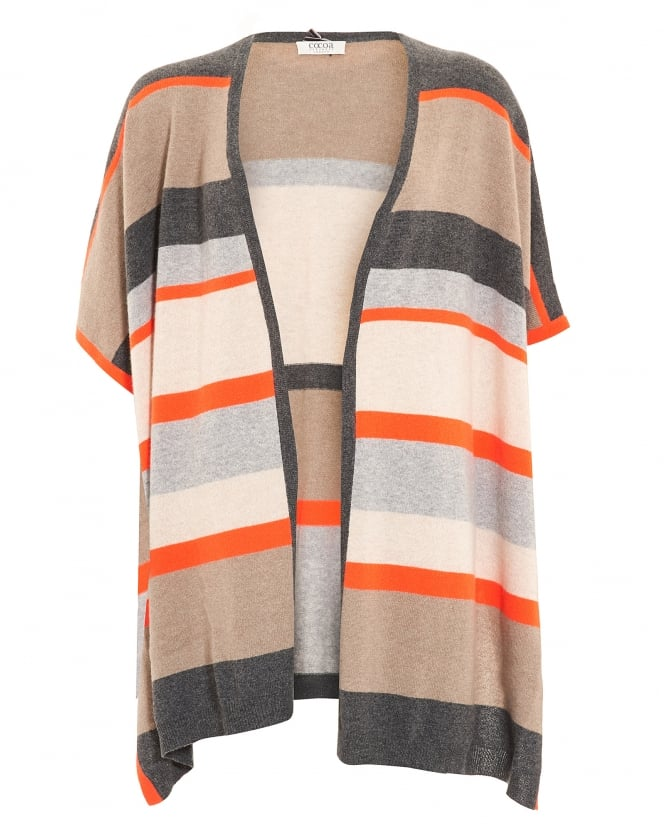 Cocoa Cashmere Womens Poncho, Horizontal Striped Beige Wrap Jumper