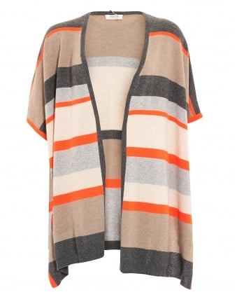 Womens Poncho, Horizontal Striped Beige Wrap Jumper