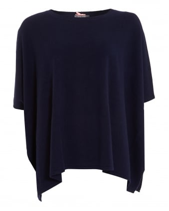 Womens Side Split Poncho, Short Sleeve Navy Blue Knit