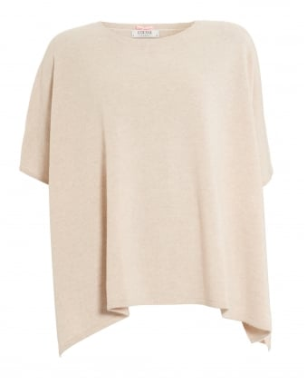 Womens Side Split Poncho, Short Sleeve Oatmeal Knit