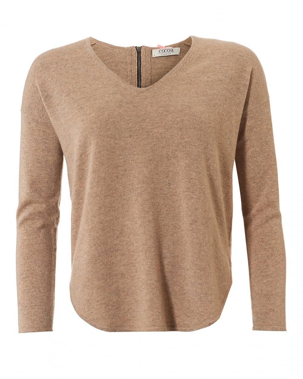 Cocoa Cashmere Womens The Cherie Jumper, V Neck Camel Sweater