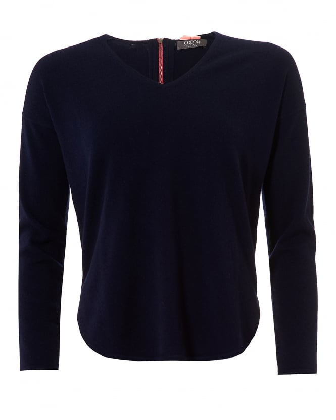 Cocoa Cashmere Womens The Cherie Jumper, V Neck Navy Sweater
