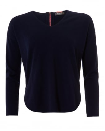 Womens The Cherie Jumper, V Neck Navy Sweater