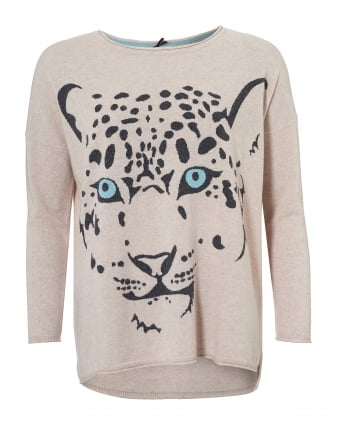 Womens The Leopard Jumper, Oatmeal Beige Print Sweater