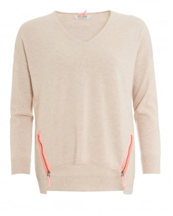 Womens The Nova Jumper, Long Back Oatmeal Knit