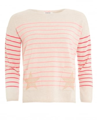 Womens The Star Jumper, Stripe Star Pocket Oatmeal Mango Knit