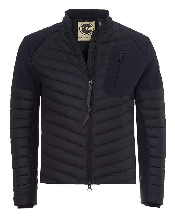 Colmar Mens Biker Jacket, Neoprene Panelled Navy Blue Jacket