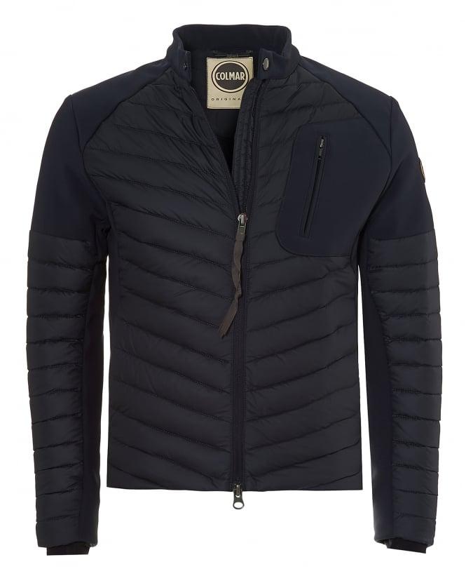colmar mens biker jacket, neoprene panelled navy jacket