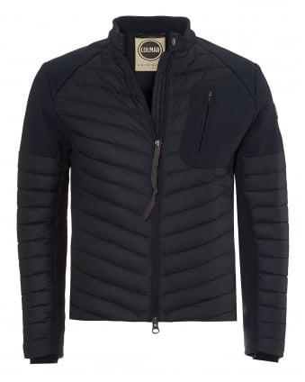 Mens Biker Jacket, Neoprene Panelled Navy Jacket